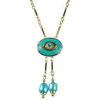Michal Golan Crystal, Turquoise and Gold Evil Eye Oval Pendant With Drop Beads