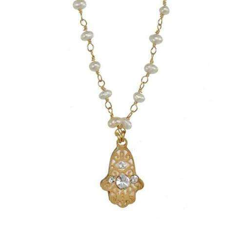 Michal Golan Delicate Hamsa Necklace on Pearl String