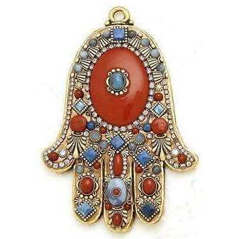 Michal Golan Denis Lapis and Red Jasper Hamsa Wall Plaque
