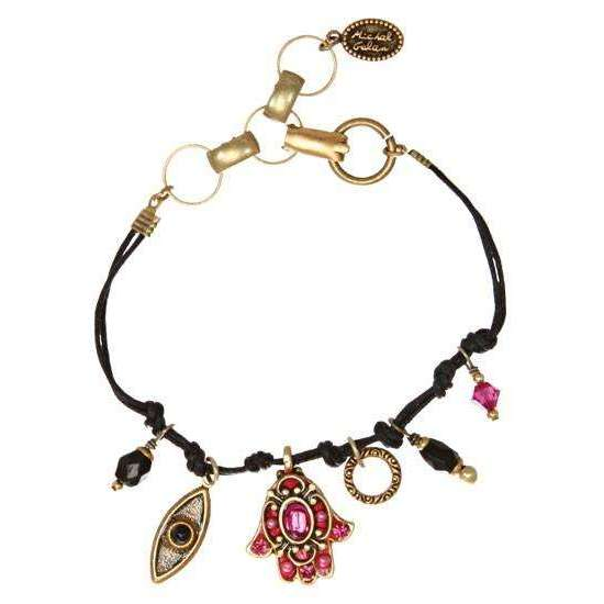 Michal Golan Fuscia Hamsa and Evil Eye Bracelet