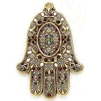 Michal Golan Garnet and Abalone Wall Hamsa