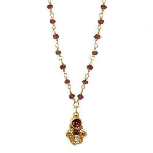 Michal Golan Garnet and Gold Hamsa Necklace