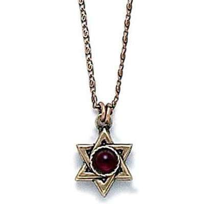 Michal Golan Garnet and Gold Star of David Necklace