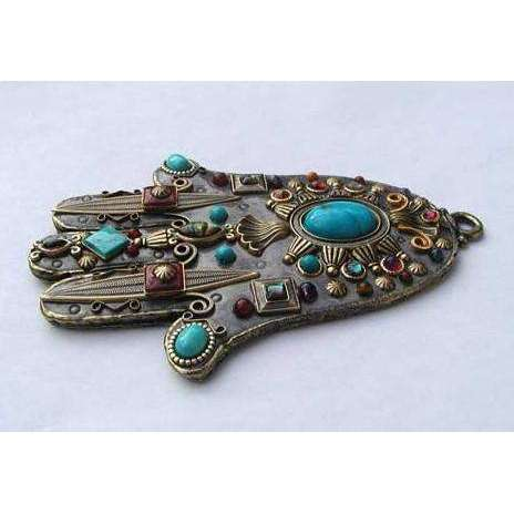 Michal Golan Garnet and Turquoise Hamsa Wall Plaque