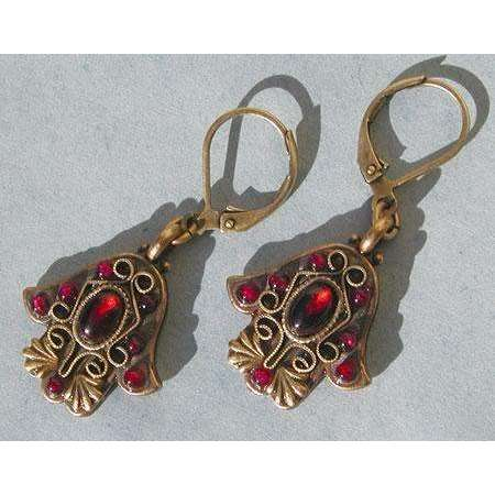 Michal Golan Garnet Hamsa Earrings