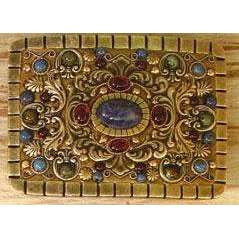 Michal Golan Garnet, Lapis, Sodalite and African Turquoise Belt Buckle