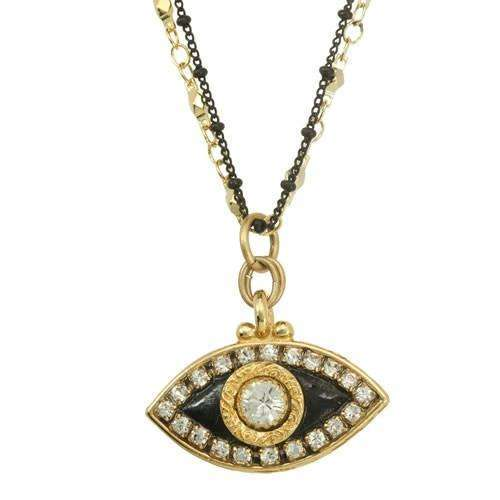 Michal Golan Gold and Black Evil Eye Necklace on Double Chain