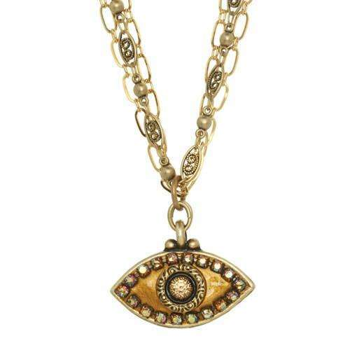 Michal Golan Gold and Bronze Evil Eye Necklace on Triple Chain