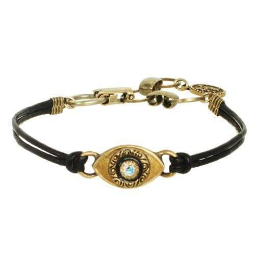 Michal Golan Gold Evil Eye Black Leather Bracelet