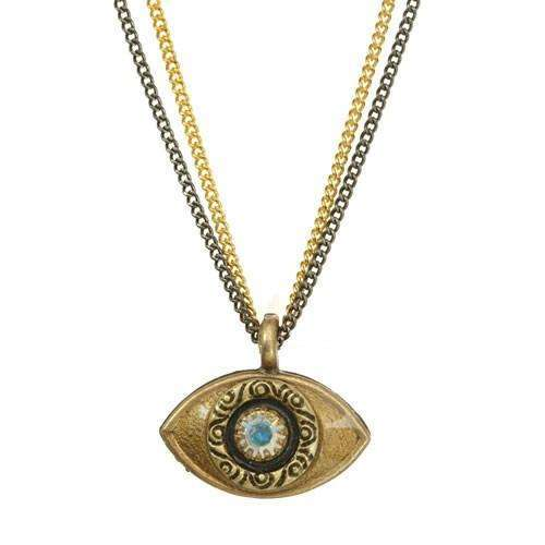 Michal Golan Gold Evil Eye Double Strand Necklace