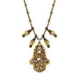 Michal Golan Gold Hamsa Necklace with Dangling Beads