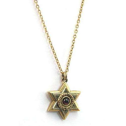 Michal Golan Gold Layered Star of David with Garnet Necklace