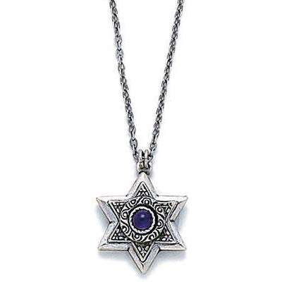 Michal Golan Gold Layered Star of David with Purple Crystal