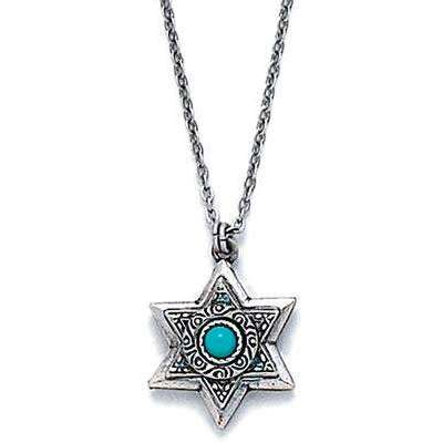 Michal Golan Gold Layered Star of David with Turquoise Necklace