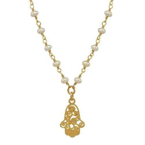 Michal Golan Gold Swirl Hamsa with Freshwater Pearls