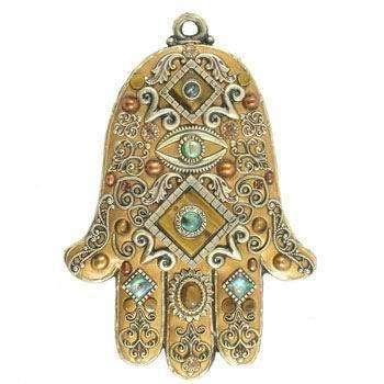 Michal Golan Gold Tone and Blue Wall Hamsa
