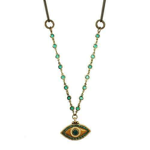 Michal Golan Green and Gold Evil Eye Beaded Necklace