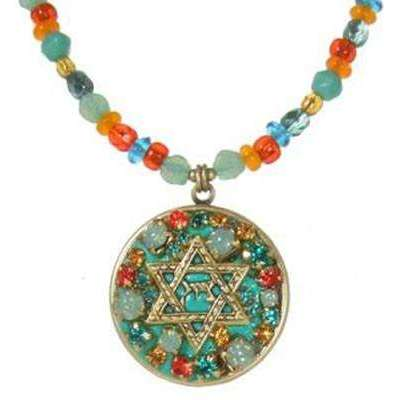 Michal Golan Green and Orange Star of David Necklace