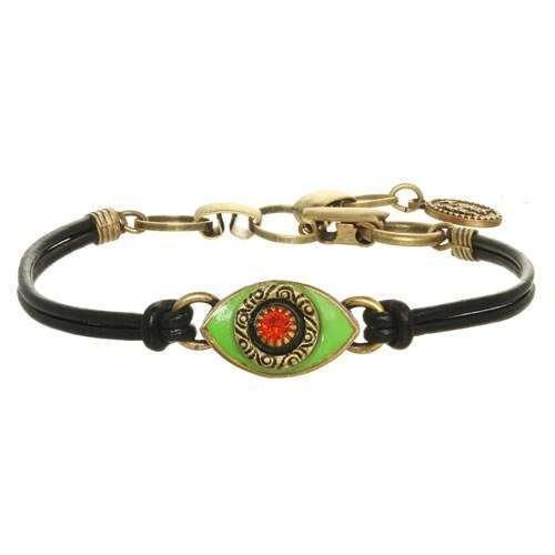 Michal Golan Green and Red Evil Eye Bracelet on Leather