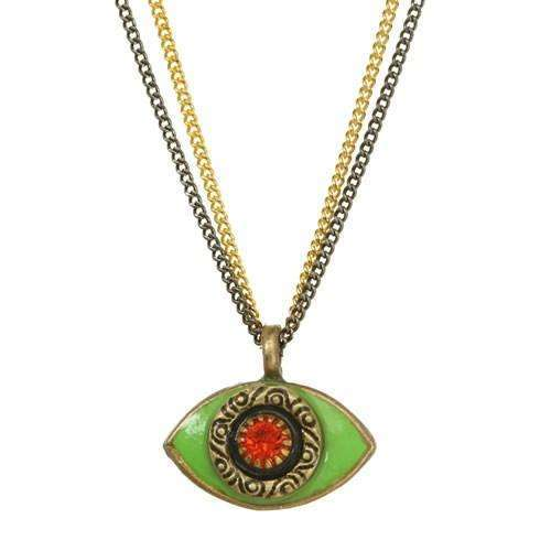 Michal Golan Green and Red Evil Eye Double Strand Necklace