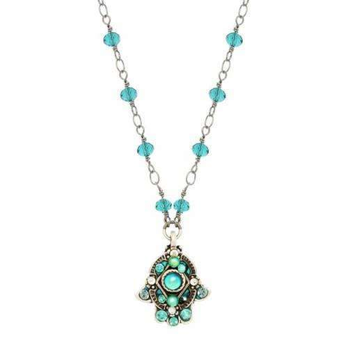 Michal Golan Green and Silver Hamsa Necklace