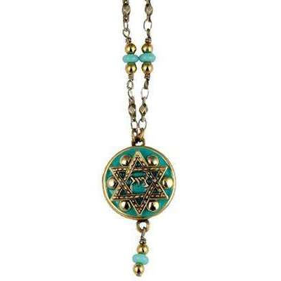 Michal Golan Green Star of David Necklace with Dangle