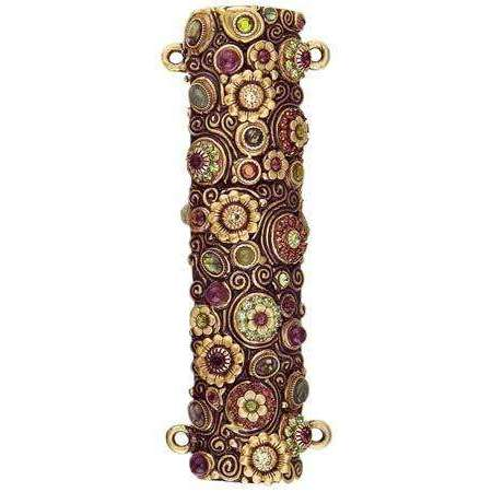 Michal Golan Green Swarovski Crystal and Flowers Mezuzah