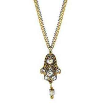 Michal Golan Grey and Gold Hamsa Necklace on a Double Chain