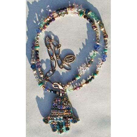 Michal Golan Hamsa Necklace - Abalone & Crystal