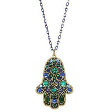Michal Golan Hamsa Necklace in Black, Blue and Green