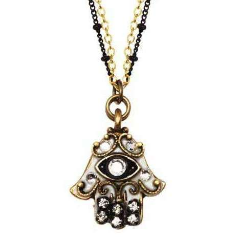 Michal Golan Hamsa Necklace in Black, Silver, and Gold with Evil Eye