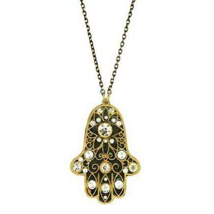 Michal Golan Hamsa Necklace in Black, White and Gold
