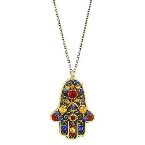 Michal Golan Hamsa Necklace in Blue, Red and Gold