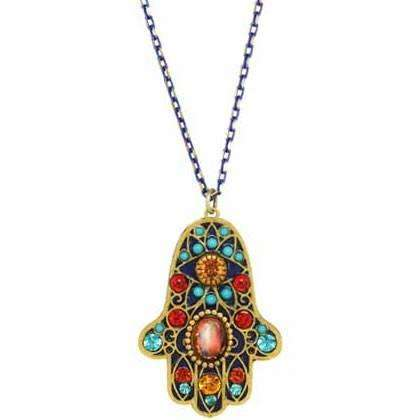 Michal Golan Hamsa Necklace with Multi-colored Beads
