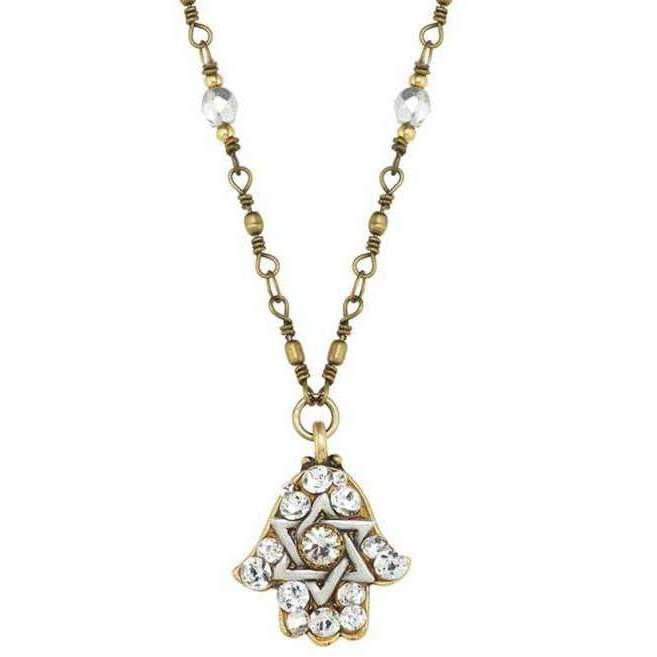Michal Golan Hamsa Necklace with Star of David