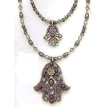 Michal Golan Hematite, Freshwater Pearl and Swarovski Crystal Hamsa Necklace