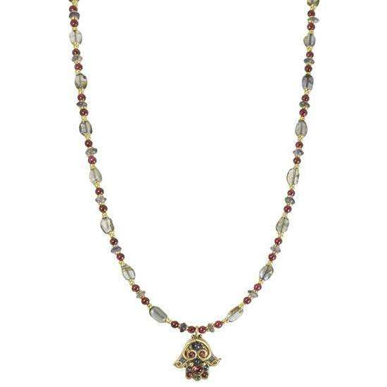 Michal Golan Iolite and Garnet Beaded Hamsa Necklace