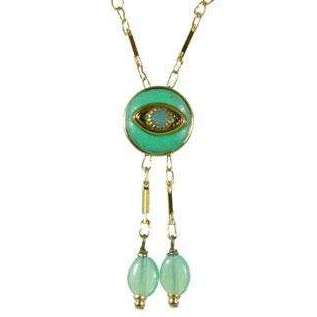 Michal Golan Jade and Gold Evil Eye Round Pendant Necklace With Drop Beads