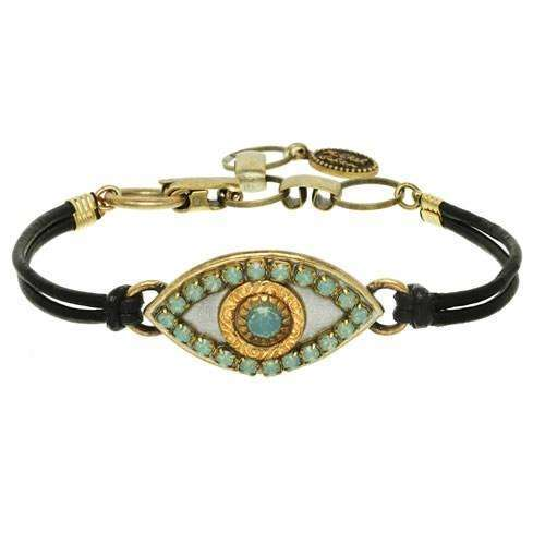 Michal Golan Jade Evil Eye Bracelet on Leather