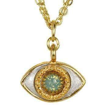 Michal Golan Jade, Gold and Silver Evil Eye Charm Necklace