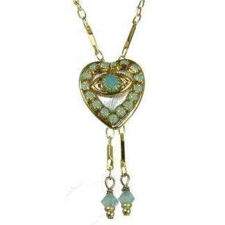 Michal Golan Jade, Gold and Silver Evil Eye Heart Pendant With Drop Beads