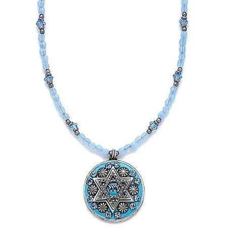 Michal Golan Light Blue Star of David on Beaded Necklace