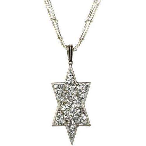 Michal Golan Long Triple Chain Star of David Necklace