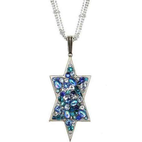 Michal Golan Long Triple Chain Star of David Necklace with Blue Mosaic