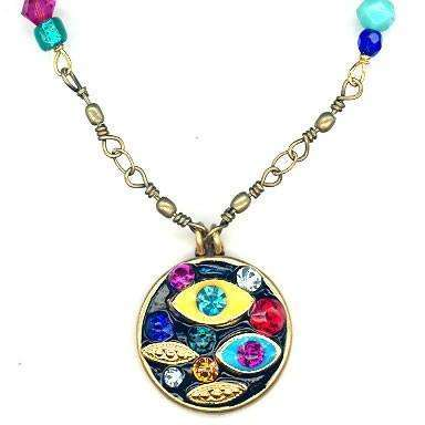 Michal Golan Medium Multi-Eye Pendant on Beaded Necklace