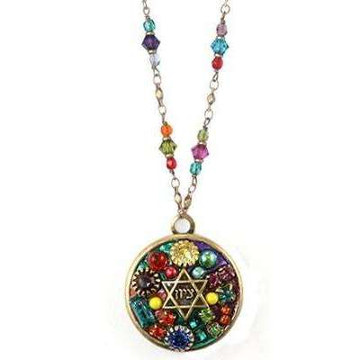 Michal Golan Multi Bright Mosaic Star of David Disk Necklace