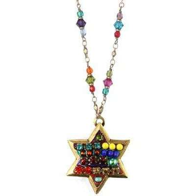 Michal Golan Multi Bright Star of David Necklace