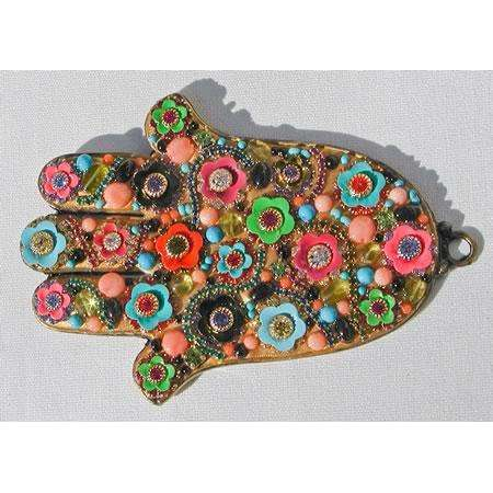 Michal Golan Multi-Color Floral Hamsa Wall Plaque