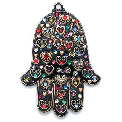 Michal Golan Multi Color Heart Wall Hamsa