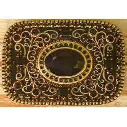 Michal Golan Onyx, Swarovski Crystals Glass and Enamel Belt Buckle